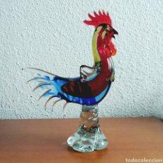 Vintage: FIGURA DE GALLO EN CRISTAL DE MURANO. Lote 99027067