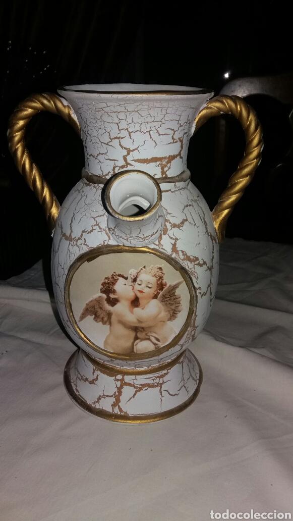 JARRÓN DE CERÁMICA DECORACIÓN ANGELITOS (Vintage - Decoración - Jarrones y Floreros)