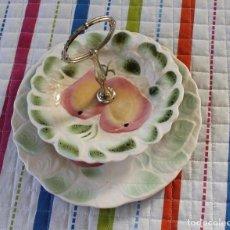 Vintage: ANTIGUO FRUTERO DE DOS PISOS-SARREGUEMINES-MAJOLICA FRUITS. Lote 101246747