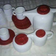 Vintage: JUEGO CAFE COMPLETO. BLANCO Y ROJO. AÑOS 70?. Lote 101728938