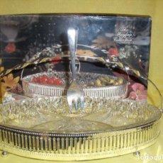 Vintage: ENTREMESERA PLATEADA Y CRISTAL, AÑOS 70, NUEVA SIN USAR.. Lote 103113683