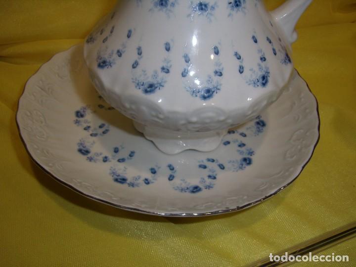 Vintage: Palangana jofaina y jarra, tocador porcelana de Sanbo, filo de plata, años 70, Nuevo sin usar. - Foto 2 - 103135419