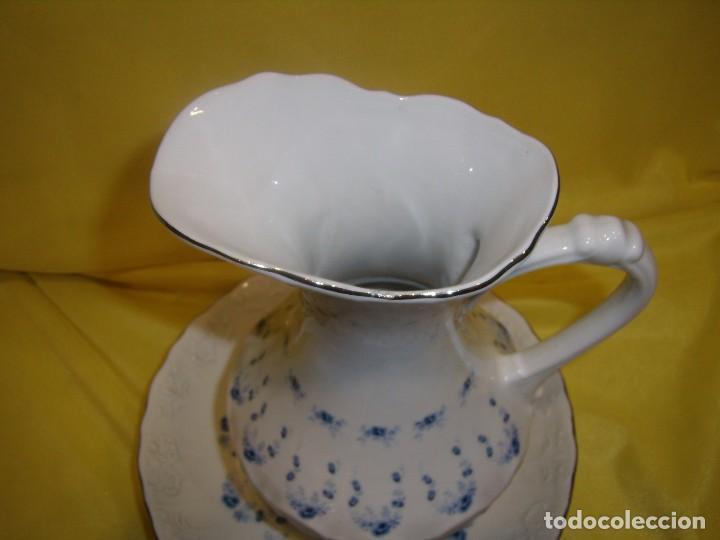 Vintage: Palangana jofaina y jarra, tocador porcelana de Sanbo, filo de plata, años 70, Nuevo sin usar. - Foto 3 - 103135419