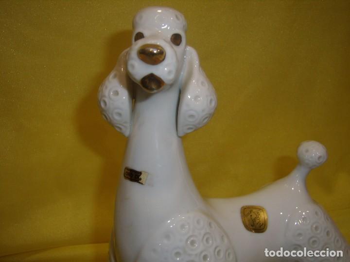Vintage: Figura porcelana Perro Marilín de Sanbo, con oro de ley, años 70, Nuevo. - Foto 2 - 103136135