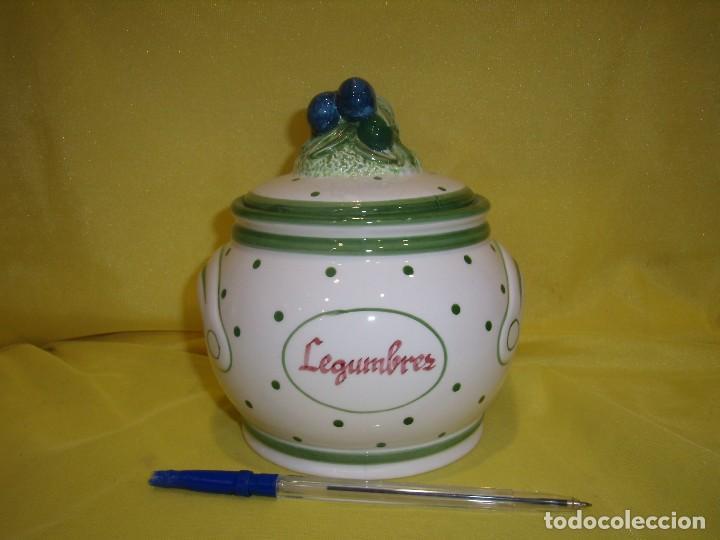 TARRO COCINA LEGUMBRES PORCELANA, AÑOS 80, NUEVO. (Vintage - Decoración - Porcelanas y Cerámicas)