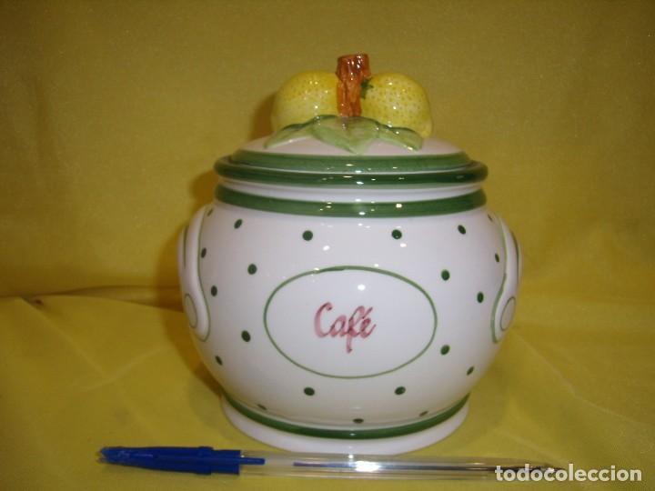 TARRO COCINA CAFÉ DE PORCELANA, AÑOS 80, NUEVO SIN USAR. (Vintage - Decoración - Porcelanas y Cerámicas)