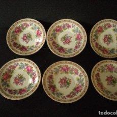 Vintage - Seis platitos de porcela china decorados a mano y sellados - 104059019