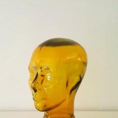 Vintage: CABEZA DE CRISTAL VERDE / GREEN GLASS HEAD . Lote 83620876