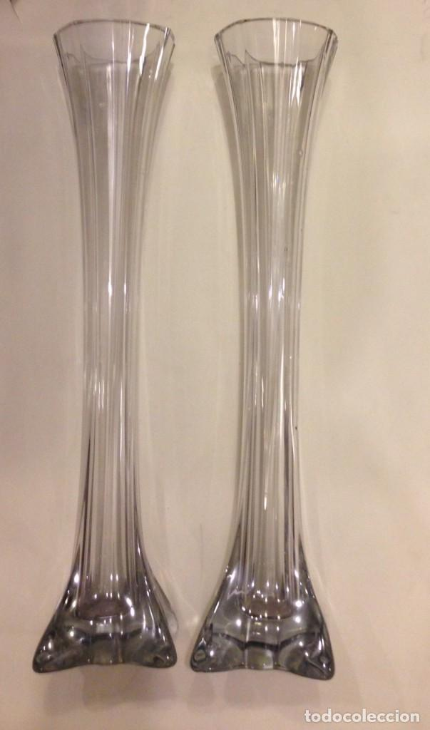 pareja de antiguos jarrones de cristal soplado 4608 de alto vintage - Jarrones De Cristal
