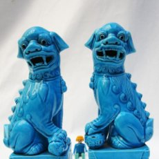 PERROS FOO DRAGONES 26cm !! FU CERAMICA AZUL PORCELANA CHINA VINTAGE RETRO POP