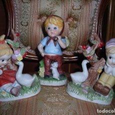 Vintage: TRES FIGURITAS DE CERAMICA.. Lote 109743867