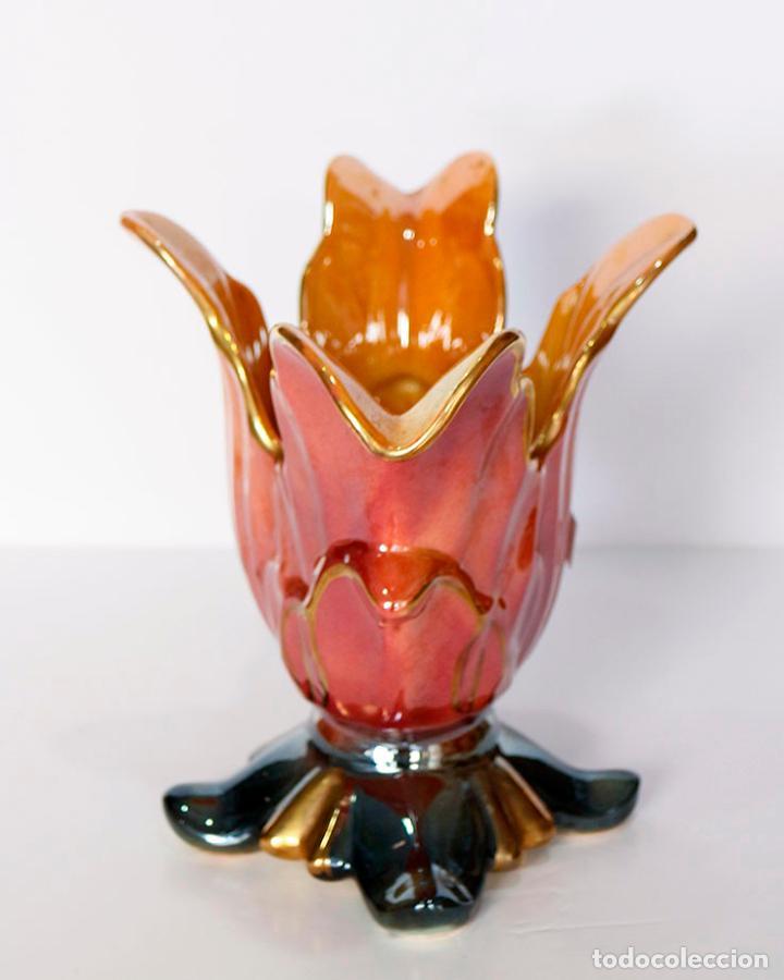 Vintage: Centro de mesa jarrón cerámica vidriada nacarada kitsch - Foto 2 - 109764851