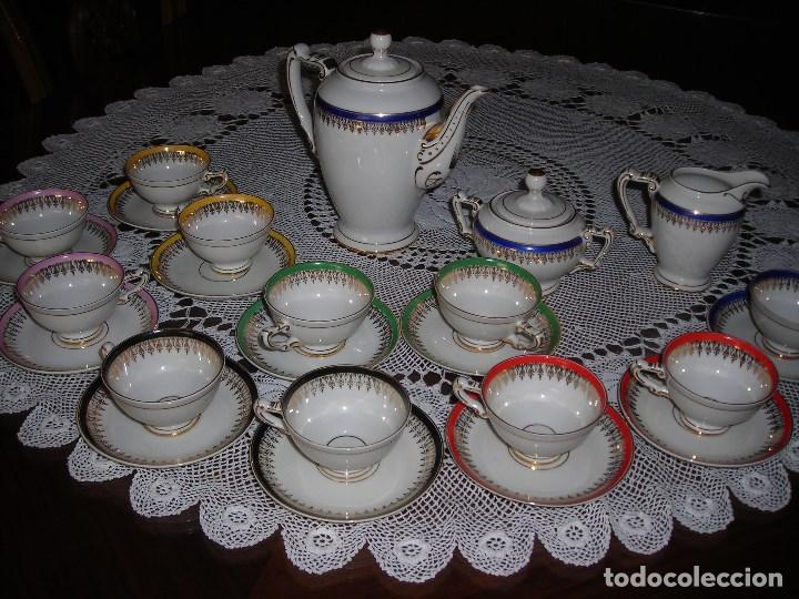 JUEGO DE CAFÉ FIRMADA YÄGER (ALEMANIA) ORO. AÑOS 40. MUY FINO. (Vintage - Decoración - Porcelanas y Cerámicas)