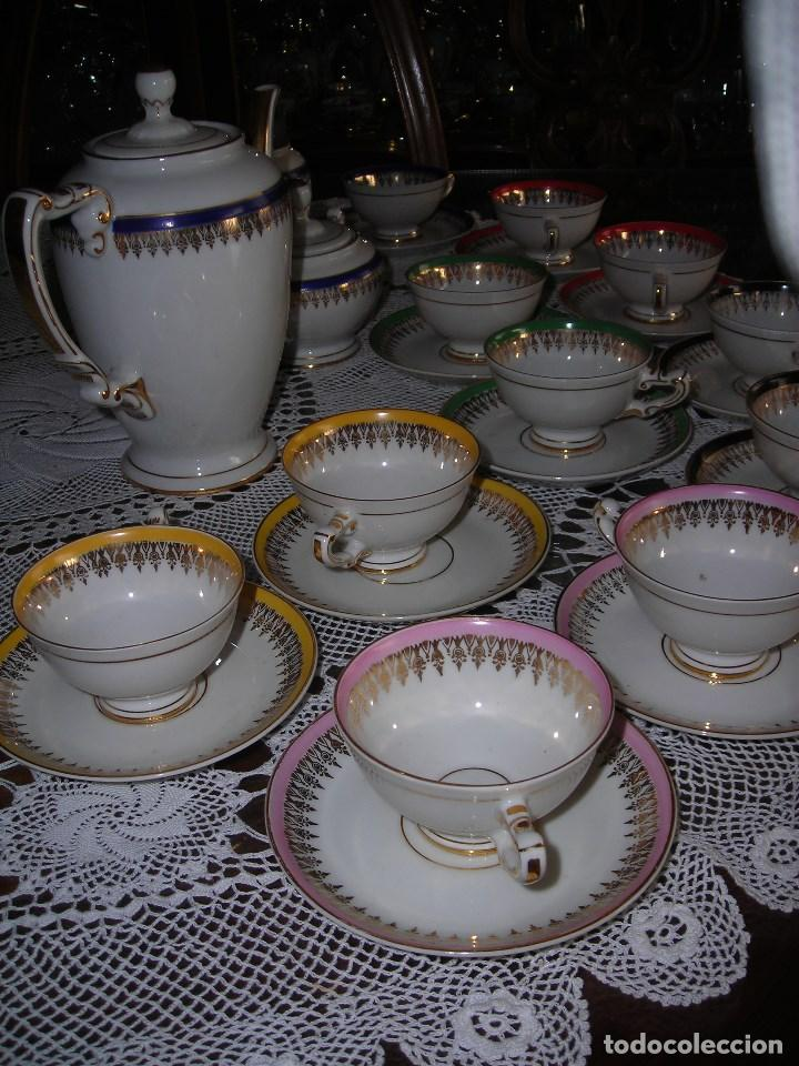 Vintage: JUEGO DE CAFÉ FIRMADA YÄGER (Alemania) Oro. Años 40. MUY FINO. - Foto 3 - 110199903