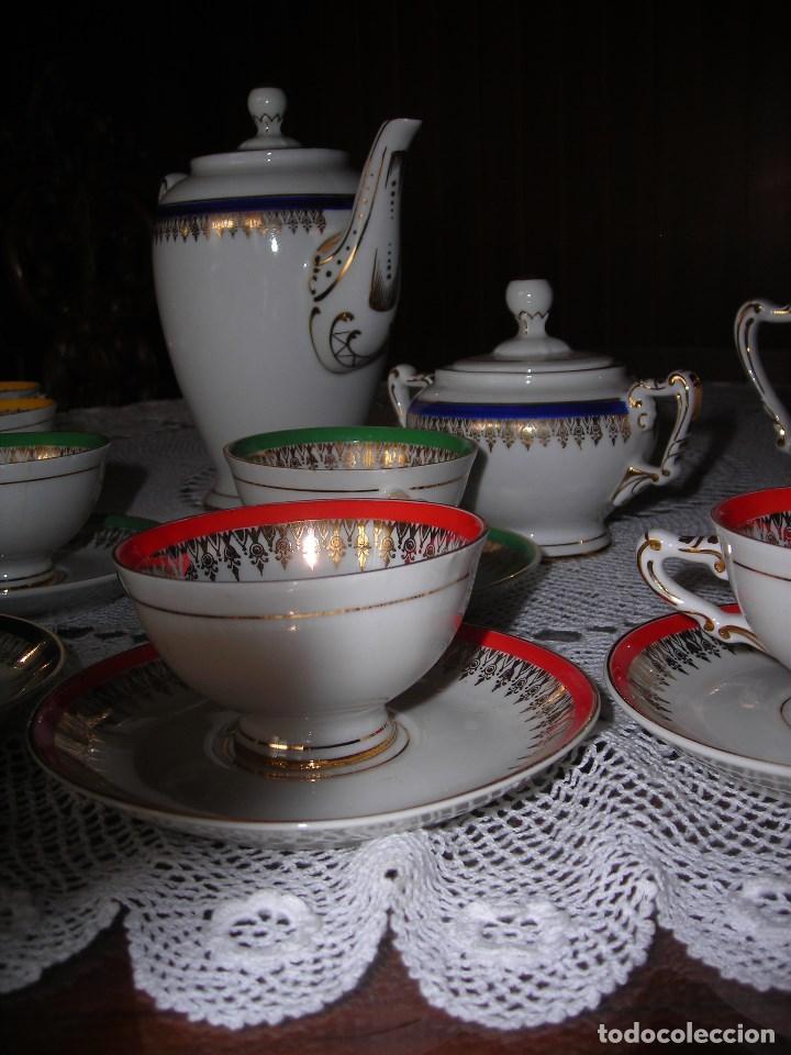 Vintage: JUEGO DE CAFÉ FIRMADA YÄGER (Alemania) Oro. Años 40. MUY FINO. - Foto 4 - 110199903