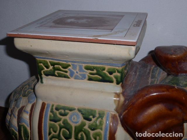 Vintage: GRAN ELEFANTE DE CERAMICA CON LA AZULEJO DE LA SANTA FAZ - Foto 8 - 111036279