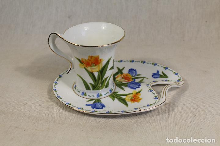 TAZA CAFÉ C/ PLATILLO EN PORCELANA THE LEONARDO COLLECTION (Vintage - Decoración - Porcelanas y Cerámicas)