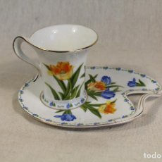 Vintage: TAZA CAFÉ C/ PLATILLO EN PORCELANA THE LEONARDO COLLECTION. Lote 111314351