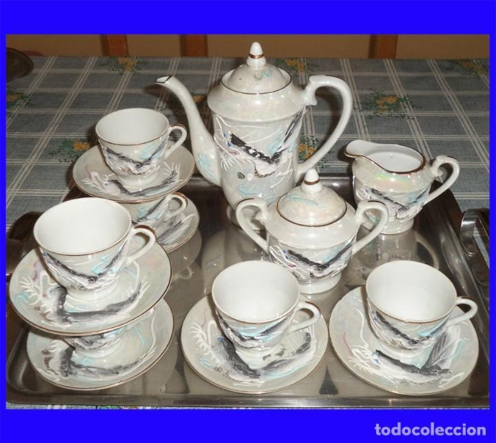 VINTAGE JUEGO DE CAFÉ/TE PORCELANA FINA CHINA 15 PIEZAS EN LA BASE SE VE A TRASLUZ LA FIGURA (Vintage - Decoración - Porcelanas y Cerámicas)
