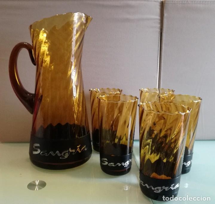 Vintage: Juego de 5 vasos y jarra de sangría años 70. Cristal ambar. Vintage - Foto 6 - 111543423