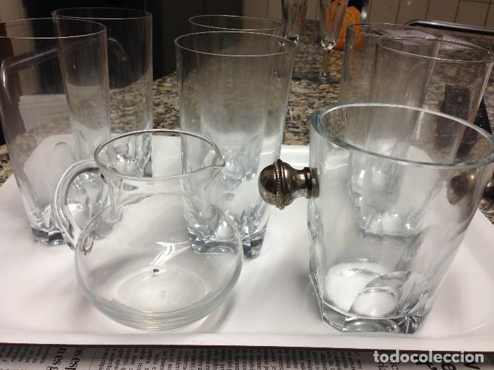 6 VASOS LARGOS WHISKY CON JARRA Y CUBO HIELO (Vintage - Decoración - Cristal y Vidrio)