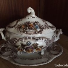 Vintage: SOPERA DE PORCELANA PORTUGUESA PINTADA MANO. Lote 113470179