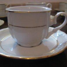 Vintage: PERFECTO ESTADO SIN USO - 10 SERVICIOS JUEGO DE CAFE DOBLE FILO DE ORO FINA PORCELANA SELLADO. Lote 113485628