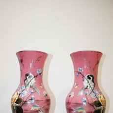 Vintage: JARRONES VINTAGE CRISTAL DE OPALINA. Lote 114101559