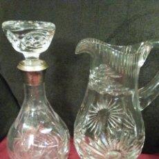 Vintage: LOTE DE JARRA Y BOTELLA DE CRISTAL Y PLATA. Lote 114188503