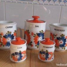 Vintage: 8 TARROS VINTAGE DE COCINA. CARNE, PESCADO, SAL, AJOS, BICARBONATO, ACEITE, AZÚCAR, PAN. HISPANOGAR.. Lote 114494275