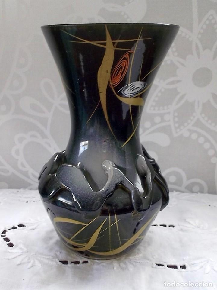 ORIGINAL JARRON-FLORERO DE CRISTAL PINTADO A MANO-MURANO? (Vintage - Decoración - Cristal y Vidrio)