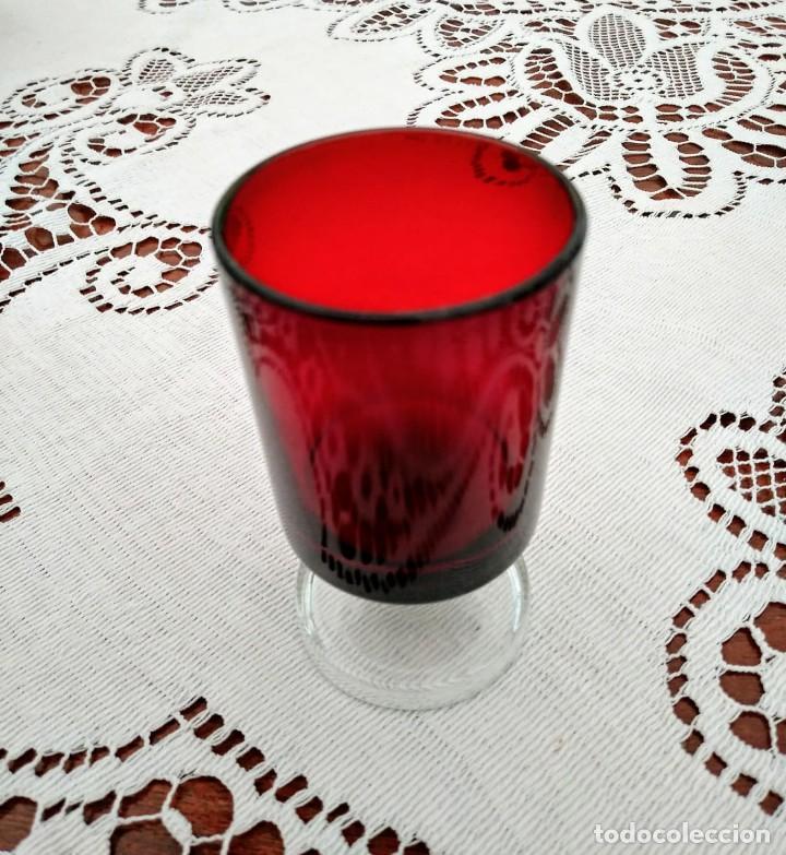 Vintage: 4 copas originales años 60 rojas rubí vintage diametro 4cm altura 7,2cm IMPECABLES - COMO NUEVAS - Foto 3 - 117446059