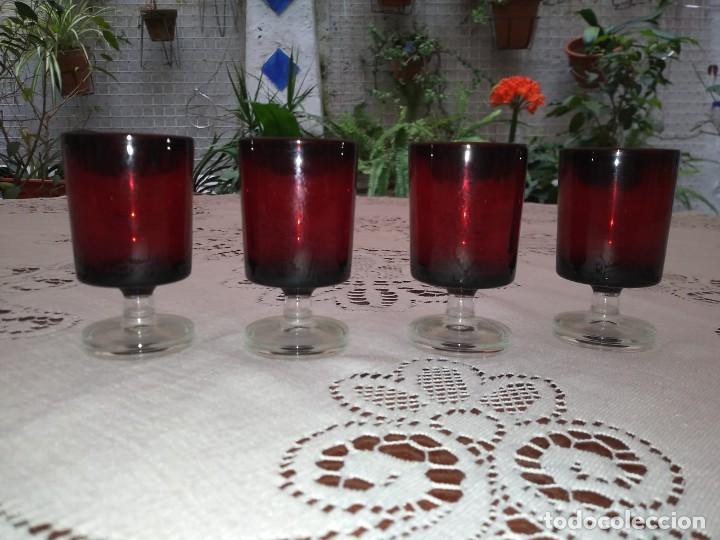 Vintage: 4 copas originales años 60 rojas rubí vintage diametro 4cm altura 7,2cm IMPECABLES - COMO NUEVAS - Foto 6 - 117446059