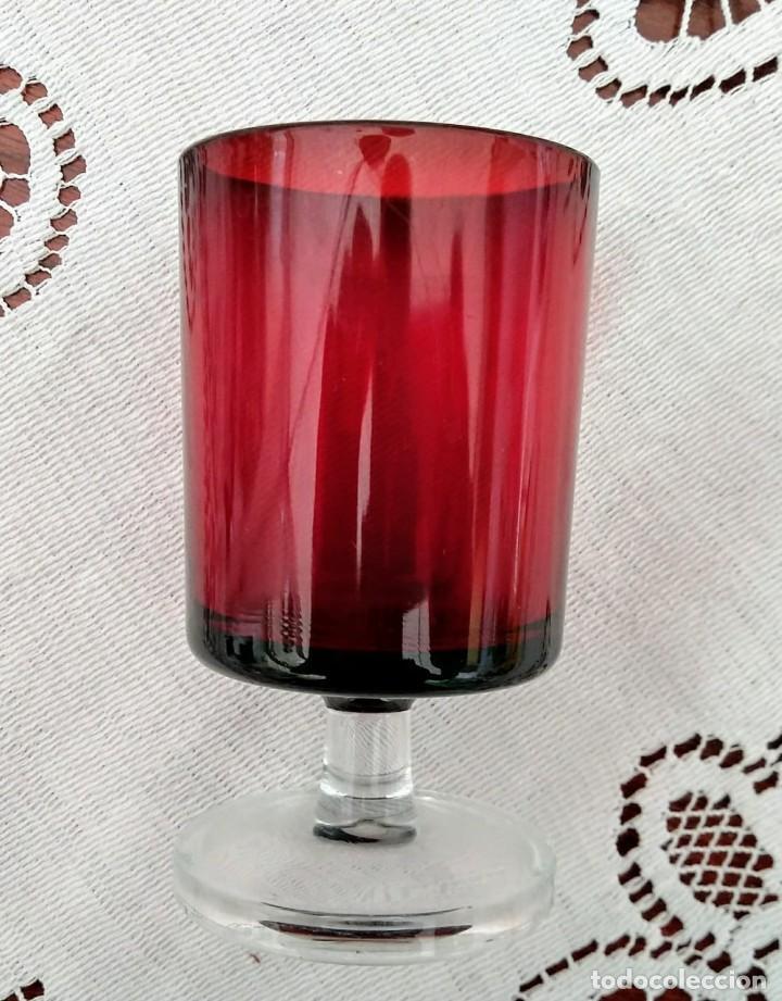4 copas originales años 60 rojas rubí vintage diámetro 5 cm altura 9,2 cm IMPECABLE ESTADO - 117446679
