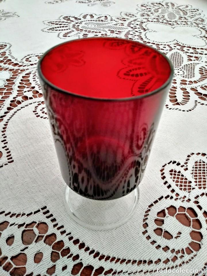 Vintage: 3 copas originales años 60 rojas rubí vintage diámetro 5,9 cm altura 10,5 cm IMPECABLE ESTADO - Foto 2 - 117446879