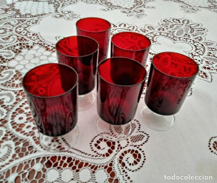 Vintage: 6 copas originales años 60 rojas rubí vintage diámetro 6,5 cm altura 11,5 cm IMPECABLE ESTADO - Foto 2 - 117447063