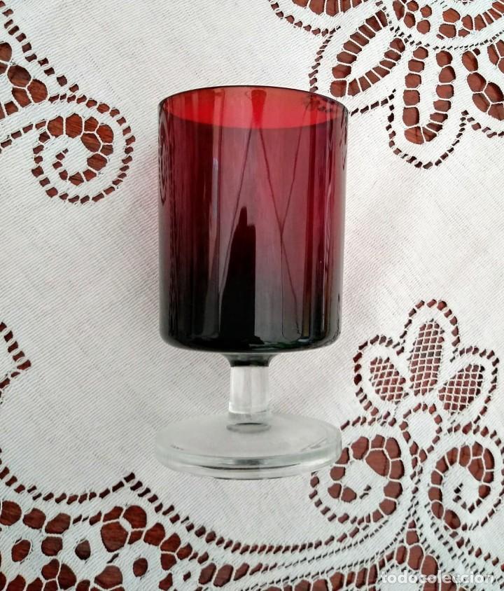Vintage: 6 copas originales años 60 rojas rubí vintage diámetro 6,5 cm altura 11,5 cm IMPECABLE ESTADO - Foto 4 - 117447063