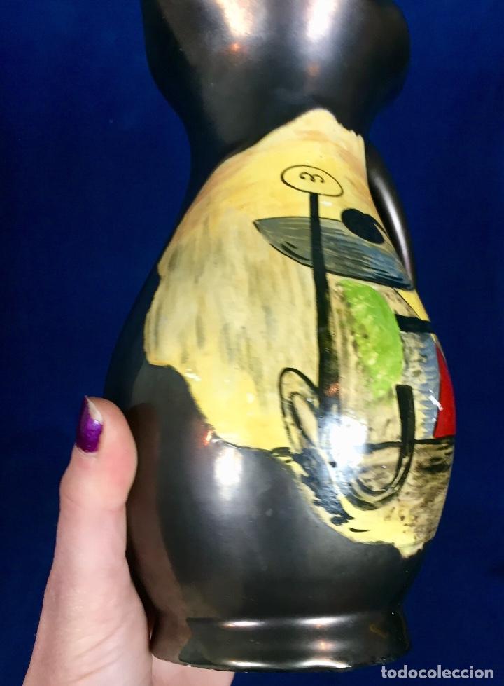 Vintage: Jarron cerámica vidriada negro mate reserva composición abstracta años 50 pintado a mano no firma 22 - Foto 3 - 117520103