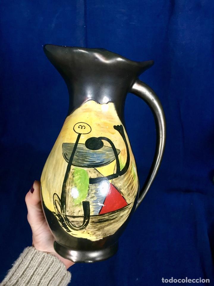 Vintage: Jarron cerámica vidriada negro mate reserva composición abstracta años 50 pintado a mano no firma 22 - Foto 4 - 117520103