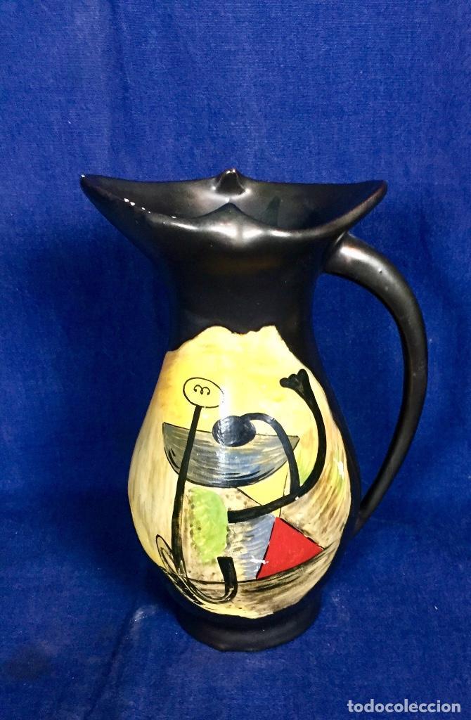 Vintage: Jarron cerámica vidriada negro mate reserva composición abstracta años 50 pintado a mano no firma 22 - Foto 5 - 117520103