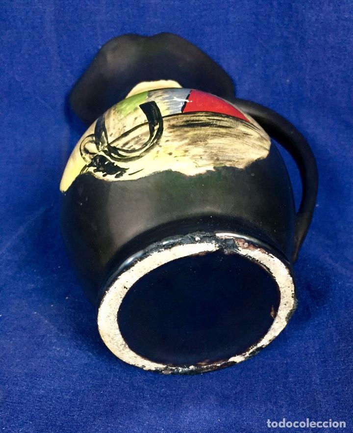Vintage: Jarron cerámica vidriada negro mate reserva composición abstracta años 50 pintado a mano no firma 22 - Foto 13 - 117520103