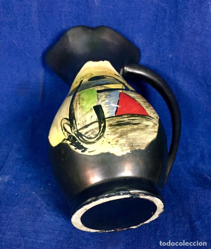 Vintage: Jarron cerámica vidriada negro mate reserva composición abstracta años 50 pintado a mano no firma 22 - Foto 14 - 117520103