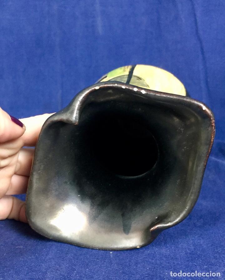 Vintage: Jarron cerámica vidriada negro mate reserva composición abstracta años 50 pintado a mano no firma 22 - Foto 19 - 117520103