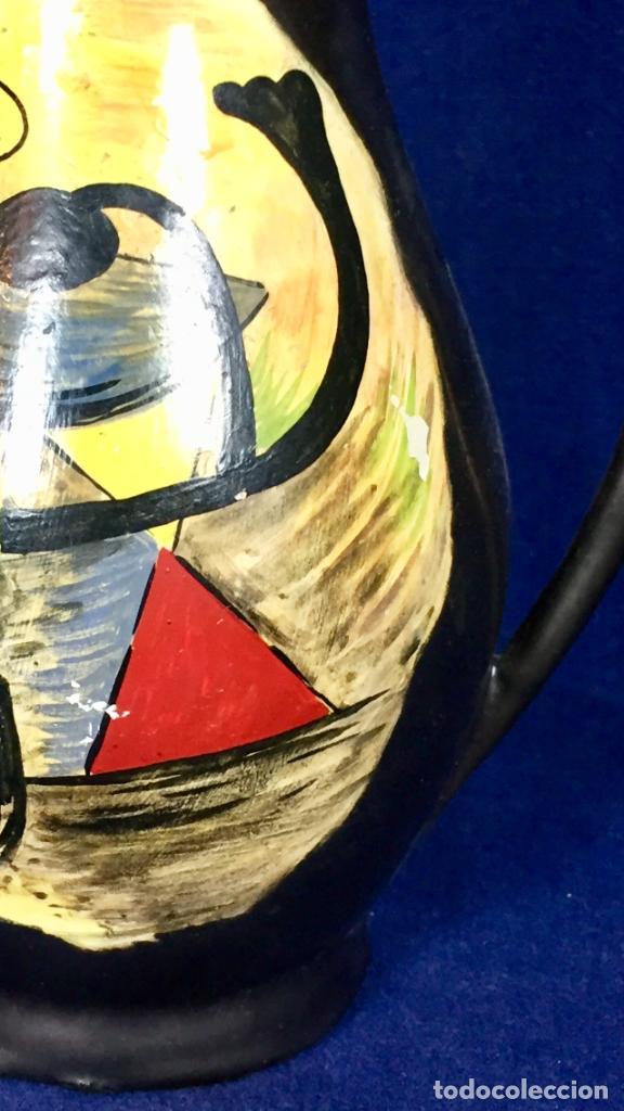 Vintage: Jarron cerámica vidriada negro mate reserva composición abstracta años 50 pintado a mano no firma 22 - Foto 23 - 117520103