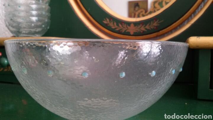 Vintage: Conjunto de cristal para postre compuesto por bol y 6 cuencos. Con detalles en verde. Años 80 - Foto 3 - 117608311