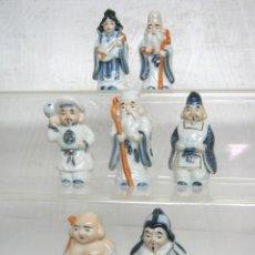 Vintage: LOS SIETE BUDAS DE LA SUERTE - PORCELANA CHINA POLICROMADA. Lote 117773111