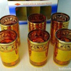 Vintage: JUEGO DE 6 VASOS ÁRABES CRISTAL ROJO Y DORADO. Lote 118246779