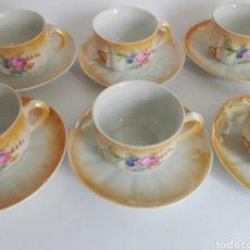 Vintage: JUEGO 6 TAZAS DE CAFE PORCELANA ANACARADA SANTA CLARA MOTIVOS ROSAS Y FLORES. Lote 118558259