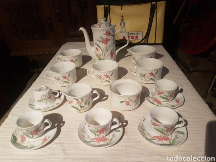 JUEGO CAFÉ TE CHOCOLATE PONTESA VINTAGE (Vintage - Decoración - Porcelanas y Cerámicas)