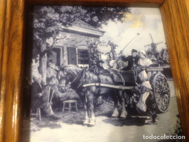 AZULEJO CON PAISAJE HOLANDES ENMARCADO (Vintage - Decoración - Porcelanas y Cerámicas)